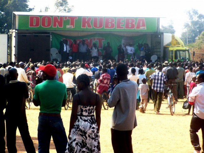 Sata pours his frustration at small crowd in Monze