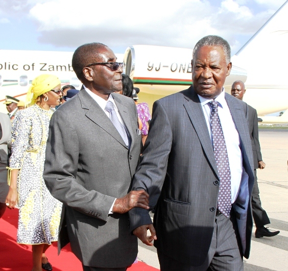 Sata pays tribute to Zim war veterans as Mugabe says Zambia and Zim are Siamese twins