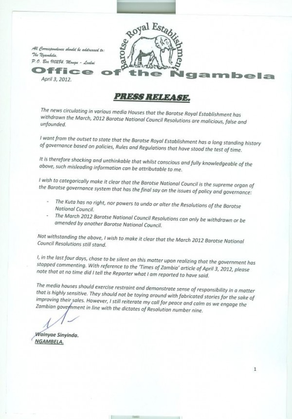 Ngambela Sinyinda rubbishes Times story that BRE has U-turned on secession (updated with press statement from Ngambela)