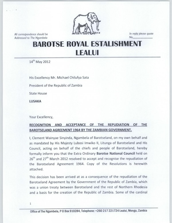 Sata receives formal letter of declaration of dispute from Barotseland