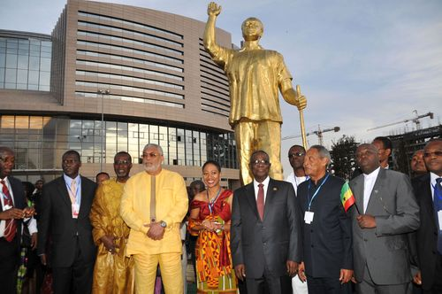Kwame Nkrumah's statue outside the new African Union complex in Addis Ababa