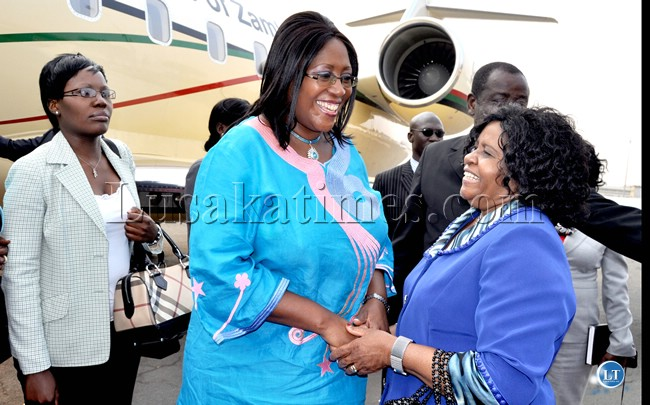 Photo of the day: Sata's wife with the Zambian Presidential Challenger jet