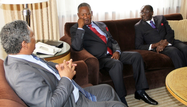 President Micheal Sata with President Mugabe held privates talks  at Palance in Hotel in New York on wednedsay after the Zambian  leader addressing the 67th regular session of the united nations general assembly on wednesday 26-092012 -picture  by Eddie Mwanaleza/Statehouse.