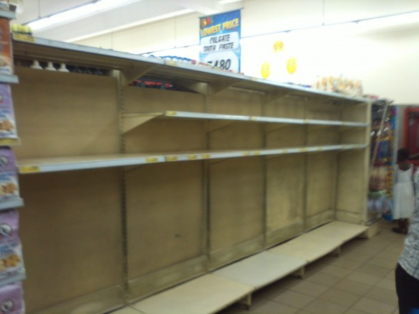 Photo of the day: empty meallie meal shelves in Shoprite Kitwe