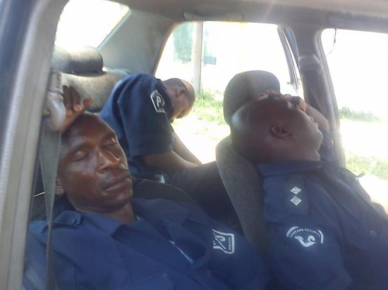 Photo of the day: Police officer, Copper guards sleeping on duty