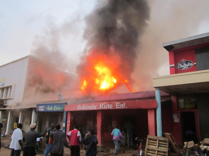 Kabwe town centre shops  burned down