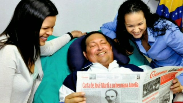 Venezuela's Hugo Chavez in first post-surgery images