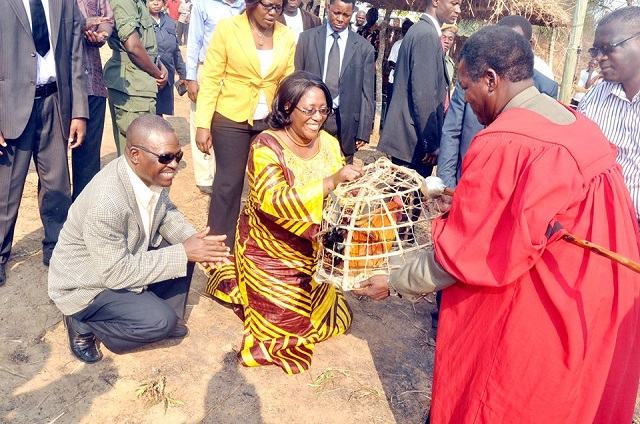 Sata's wife and Kabimba receiving donations
