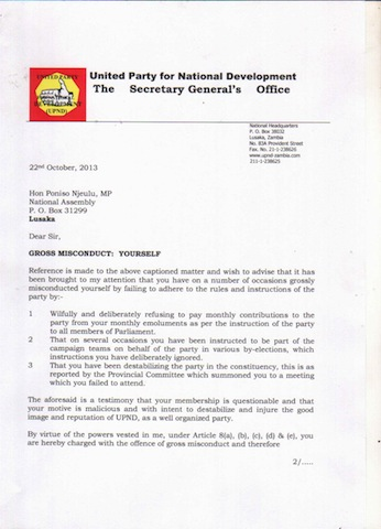 UPND suspends MP serving in PF regime