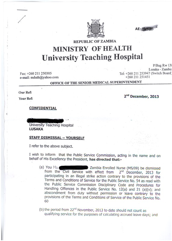 Sata fires all health workers who went on strike