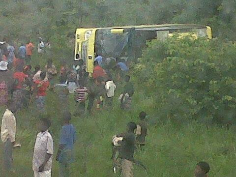 Another bus overturns
