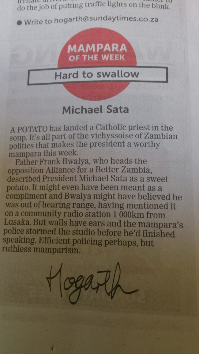 South African newspaper names Sata idiot of the week