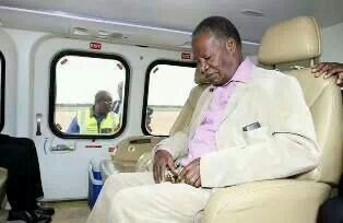 Sata struggles to disembark from plane, sleeps immediately he gets on chopper