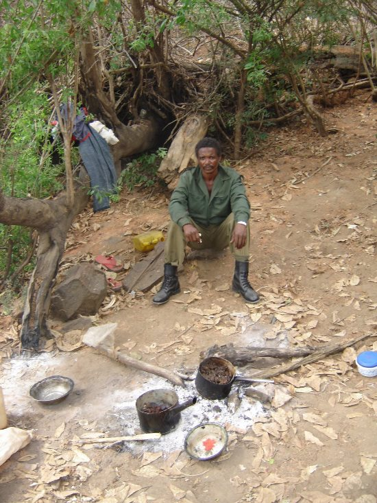 Wildlife Police Officer Joseph Mbo at his camp