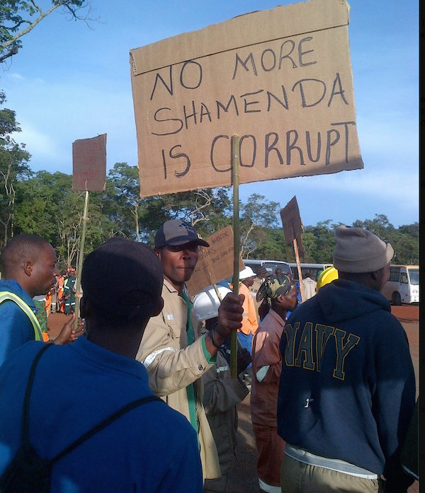 Kalumbila miners in Solwezi protest