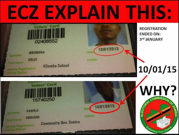 ECZ entering wrong dates on voters' cards in opposition strongholds