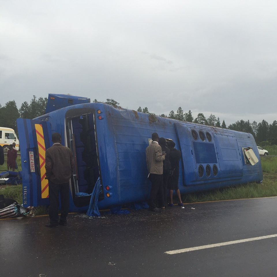 Photo of the day: Mazhandu bus goes down on poorly done Ndola, Kitwe road
