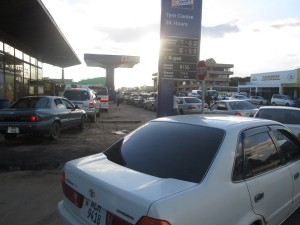 Motorists queue for Petrol at Kobil