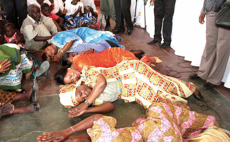 Photo of the day: president, ministers' wives test how it feels sleeping on floor