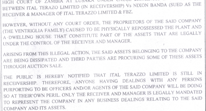 Public notice to people buying Ital Terrazo property