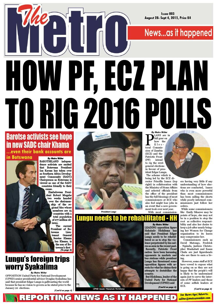 Metro reveals how PF, ECZ plan to rig 2016 elections, get a copy