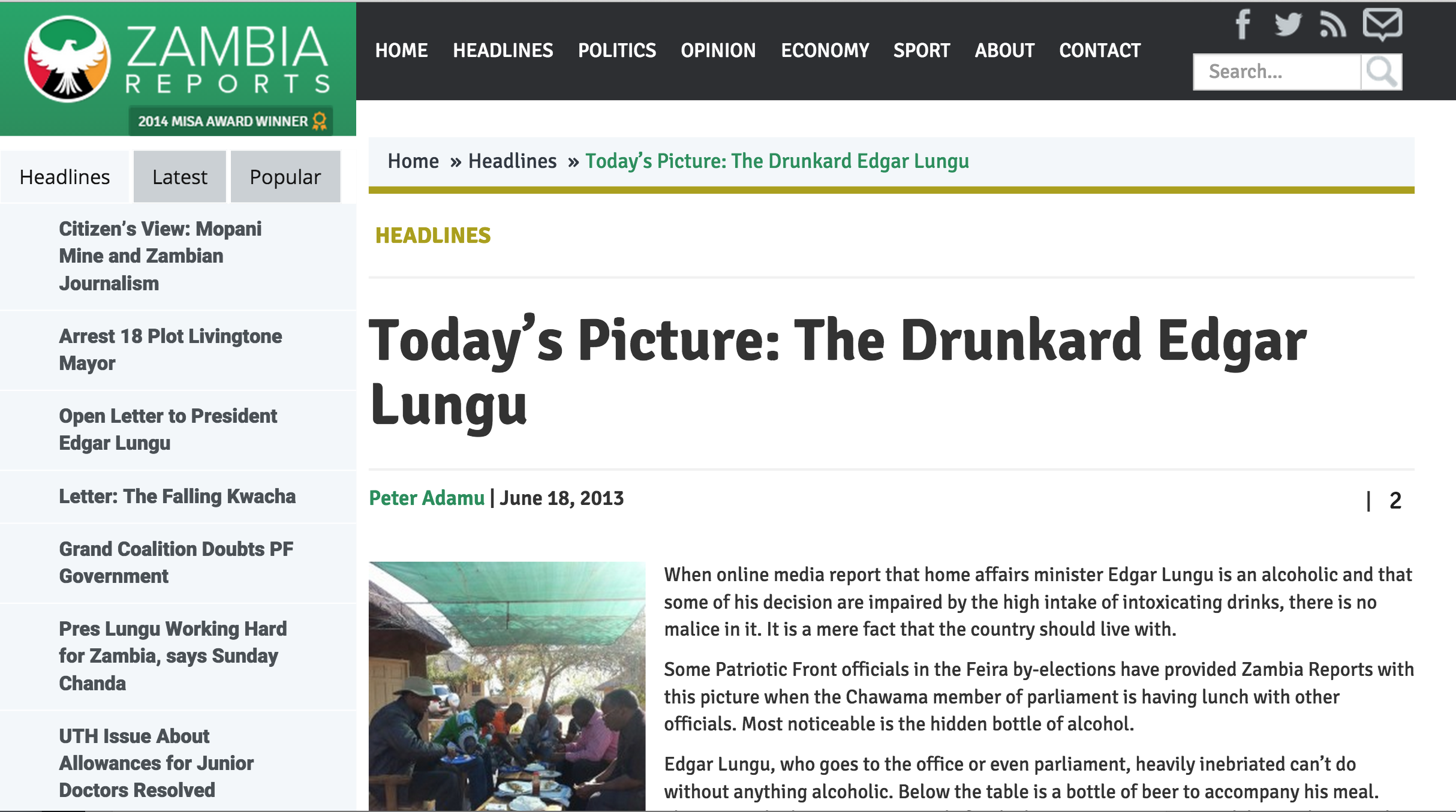 Flashback: Zambia Reports says Lungu is an alcoholic, his decisions impaired by beer