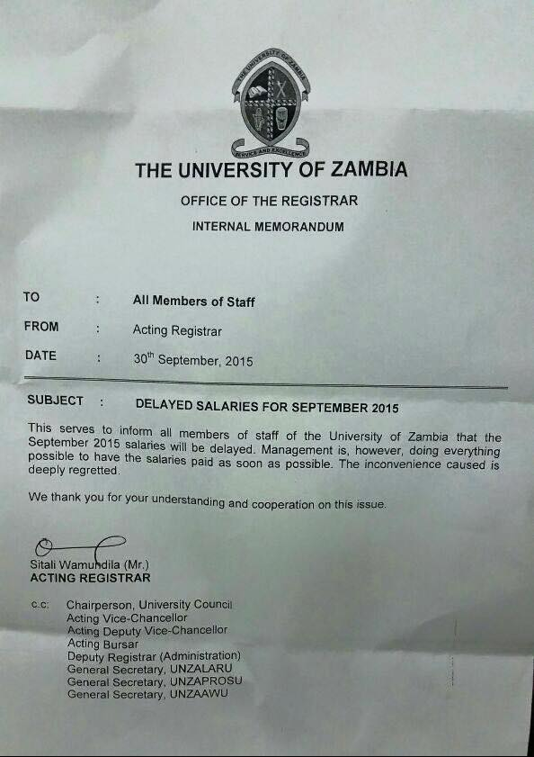 UNZA lecturers not paid for last month