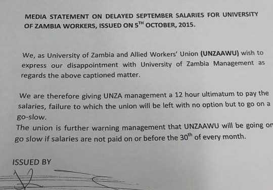 Unza workers still not paid for September,  going on strike