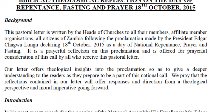 Council of Churches questions PF on what nation is repenting from