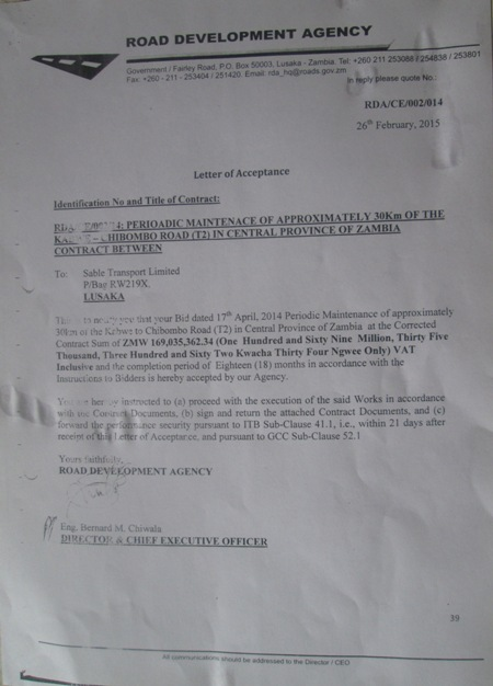 Sable contractors, state house K169m corruption letter unearthed