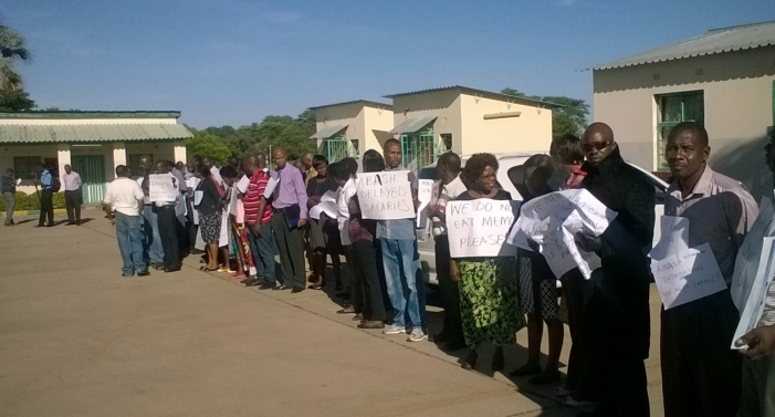 Lecturers at Livingstone Business College protest