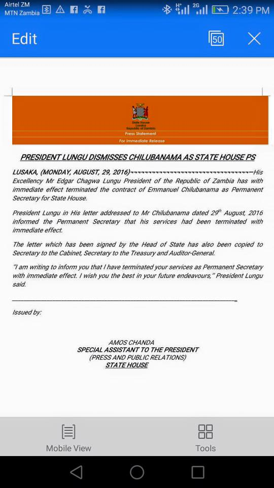 Lungu illegally 'fires' state house PS