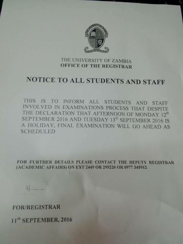 UNZA exam to proceed despite PF holiday