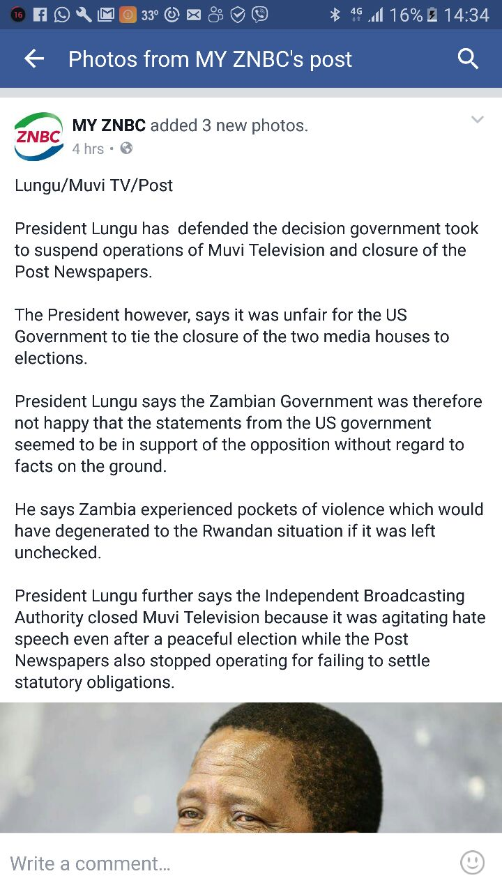 Lungu says he is not happy with USA
