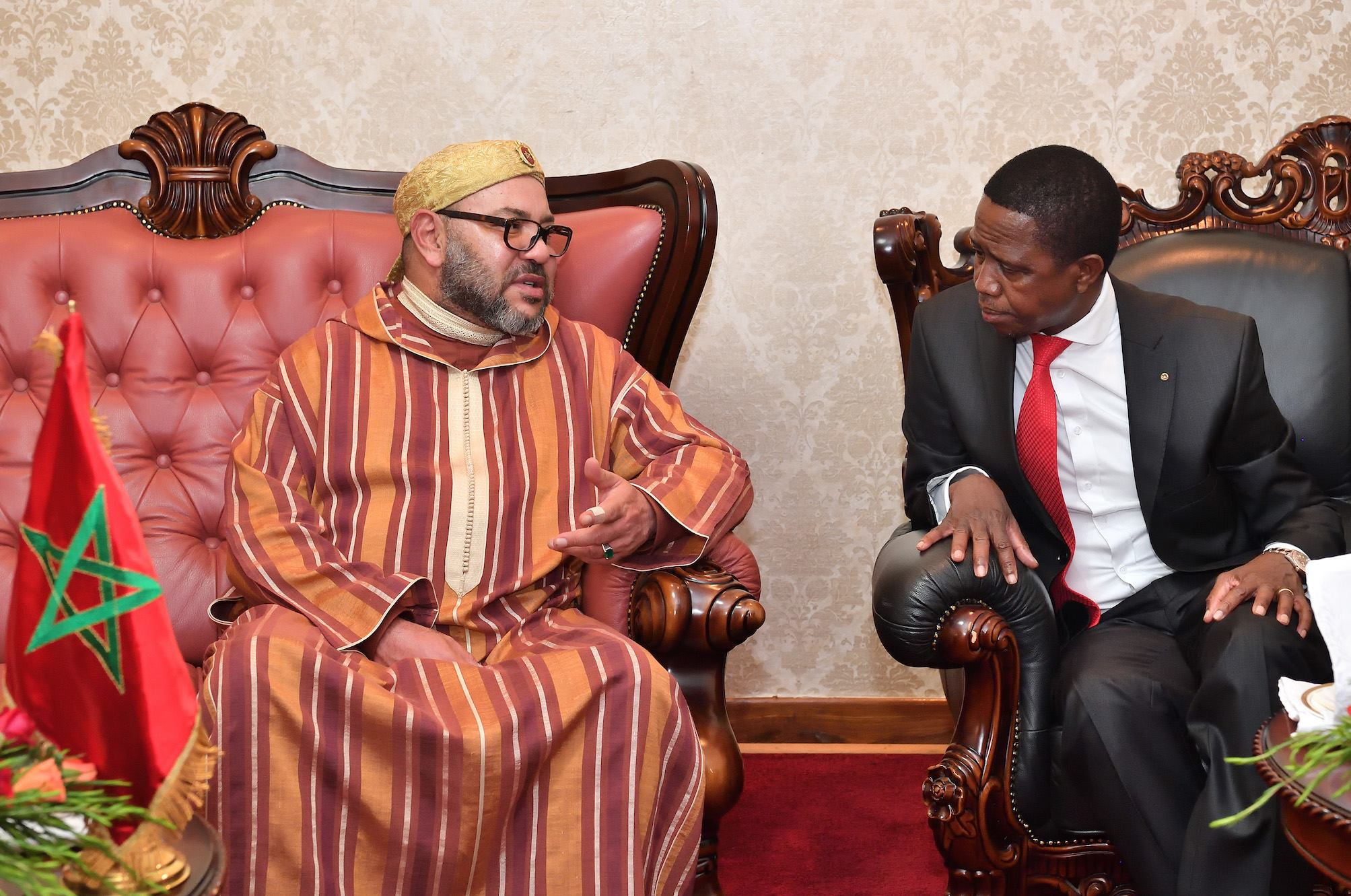 Lungu with king of Morocco in Feb 2017