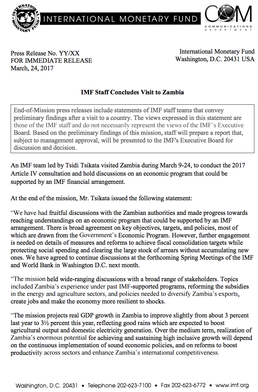 IMF not convinced by Zambia's plans, no bailout yet