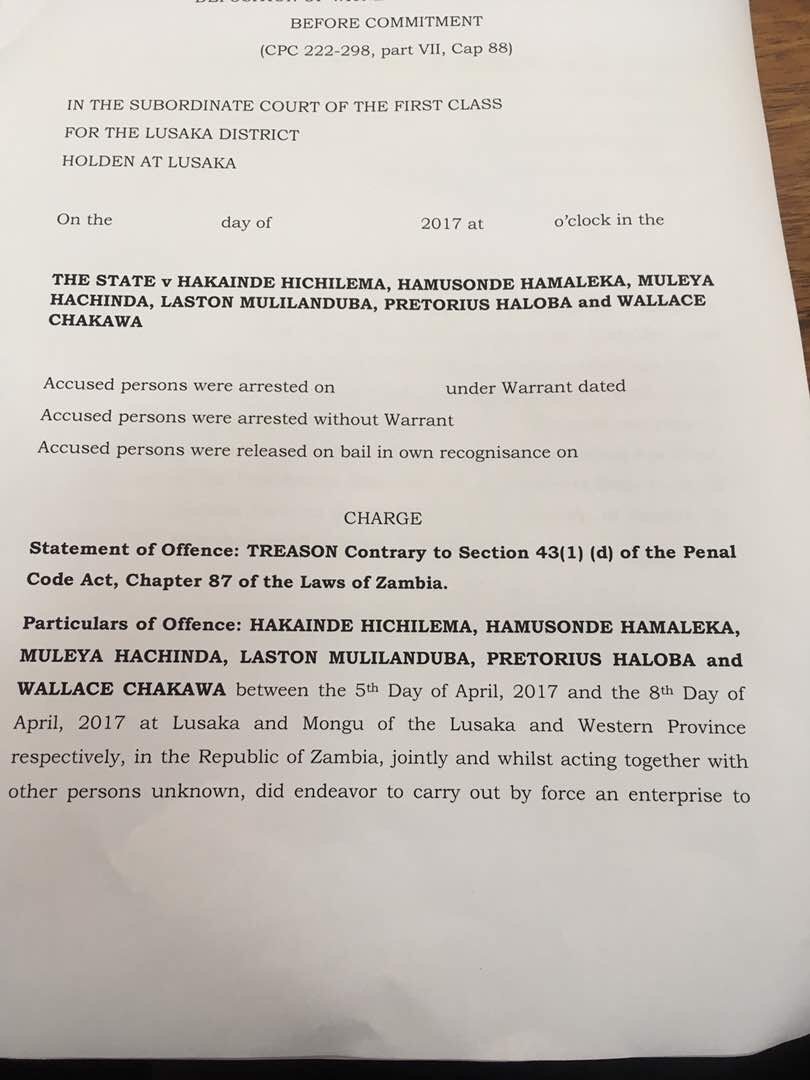 Now prosecutors say HH wanted to declare himself president in Mongu