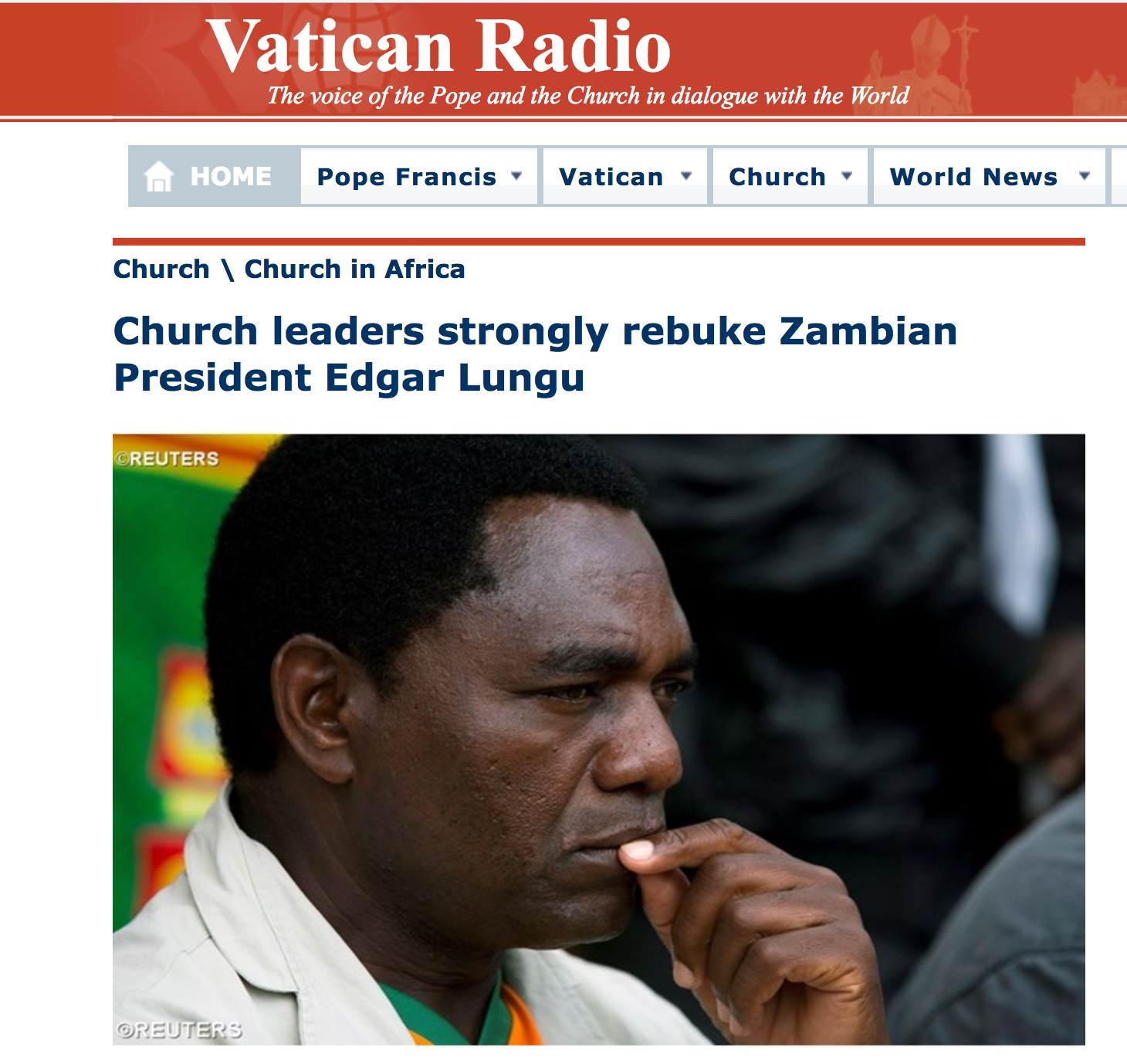Vatican radio: Church strongly rebukes Edgar Lungu