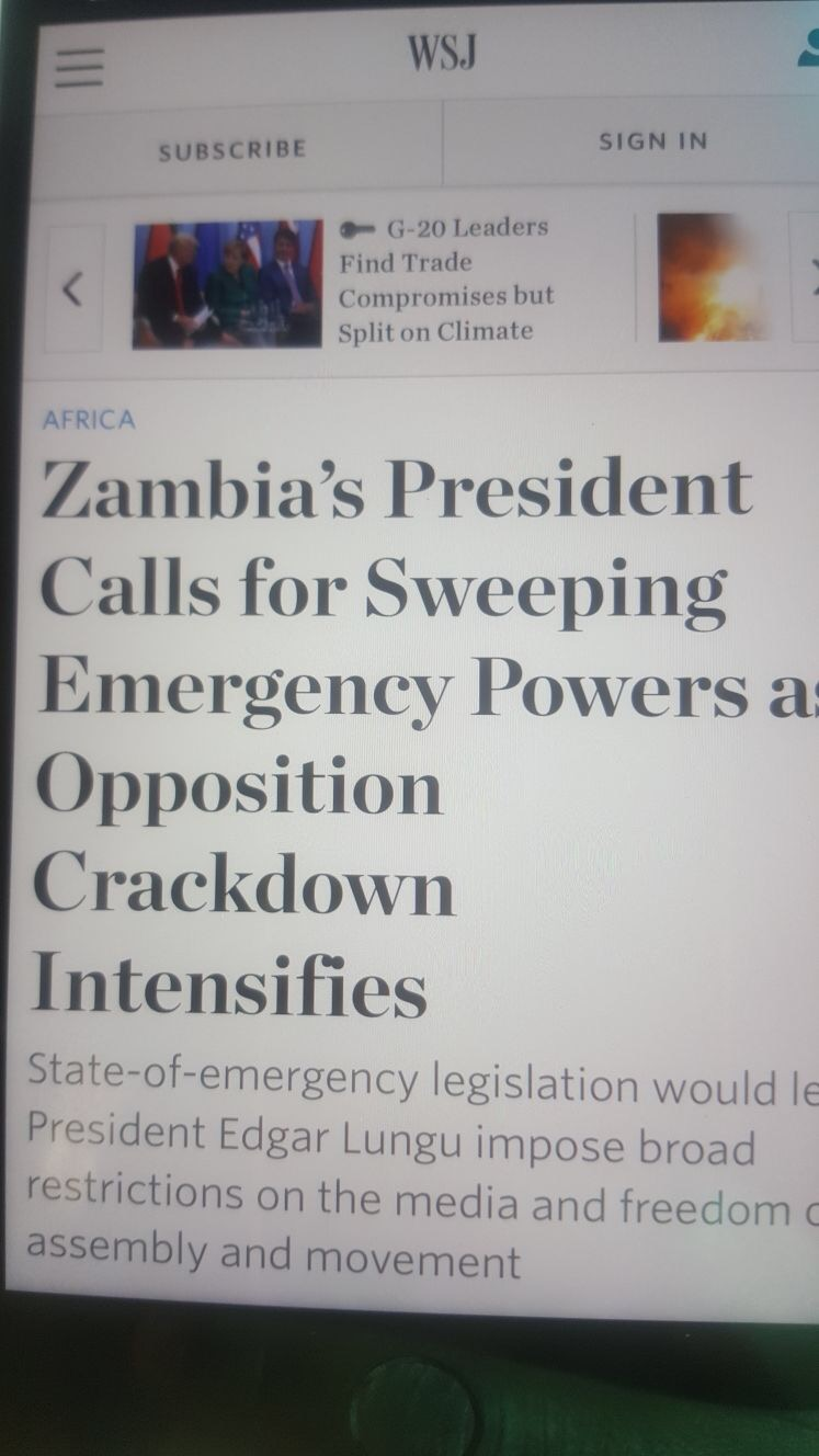 Wall Street Journal: Lungu declared state of emergency and cracks down on opposition