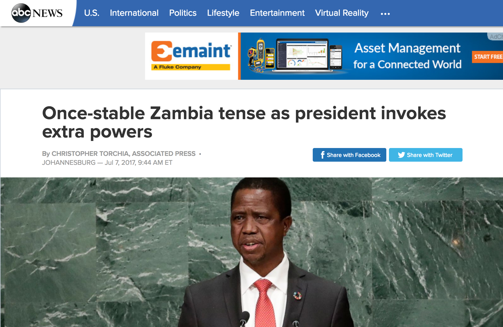 Abc news USA: These are edgy times inZambia