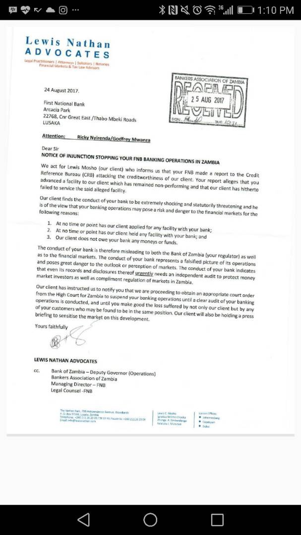 Crooked lawyer Lewis Mosho starts process to stop FNB from operating in Zambia