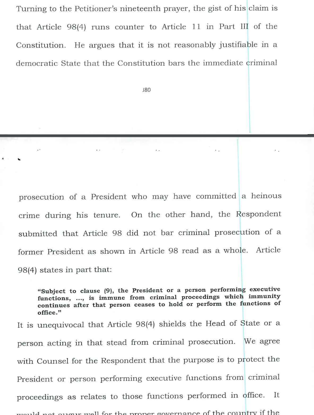 Presidential immunity not absolute, clarifies Constitutional Court