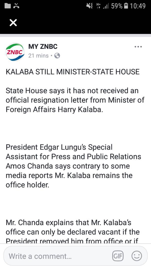 State house, ZNBC say Kalaba still minister of PF
