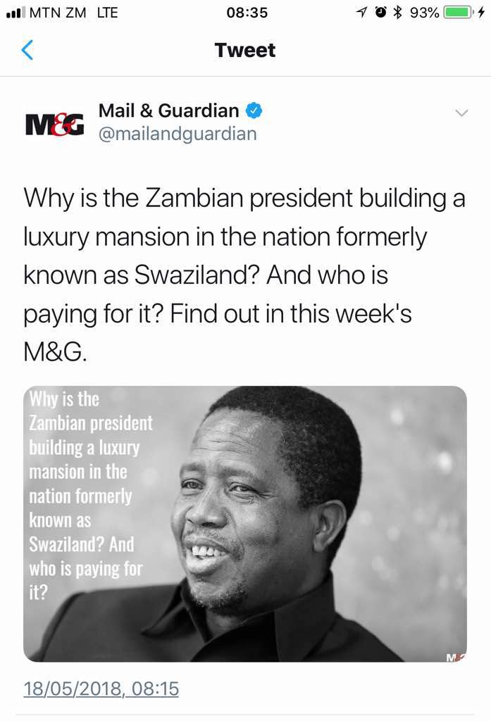 SA newspaper investigating Lungu's mansions in Swaziland