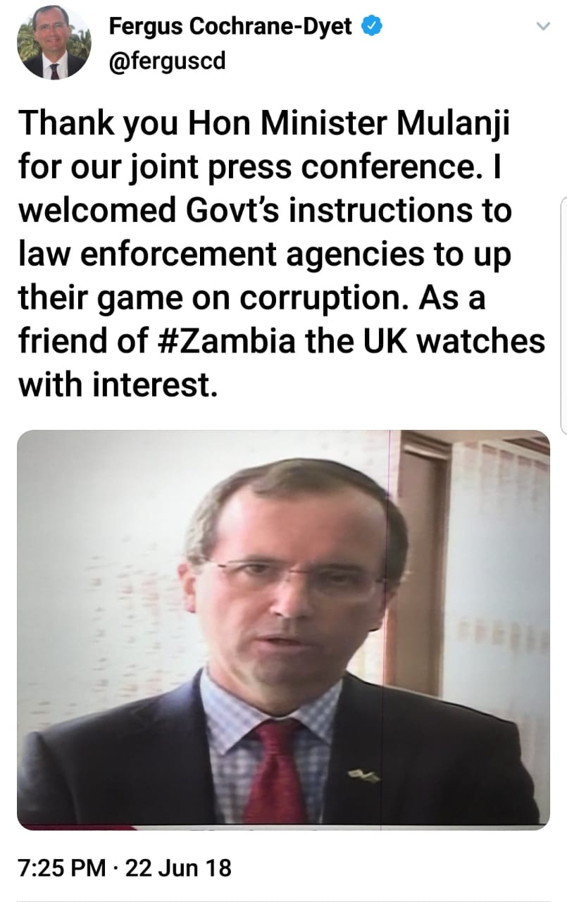 UK is watching Zambia's Corruption with keen interest – Envoy