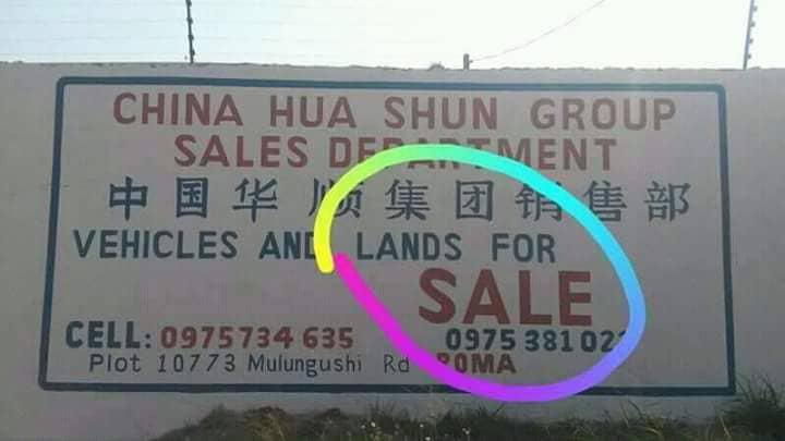 Chinese selling land in Zambia