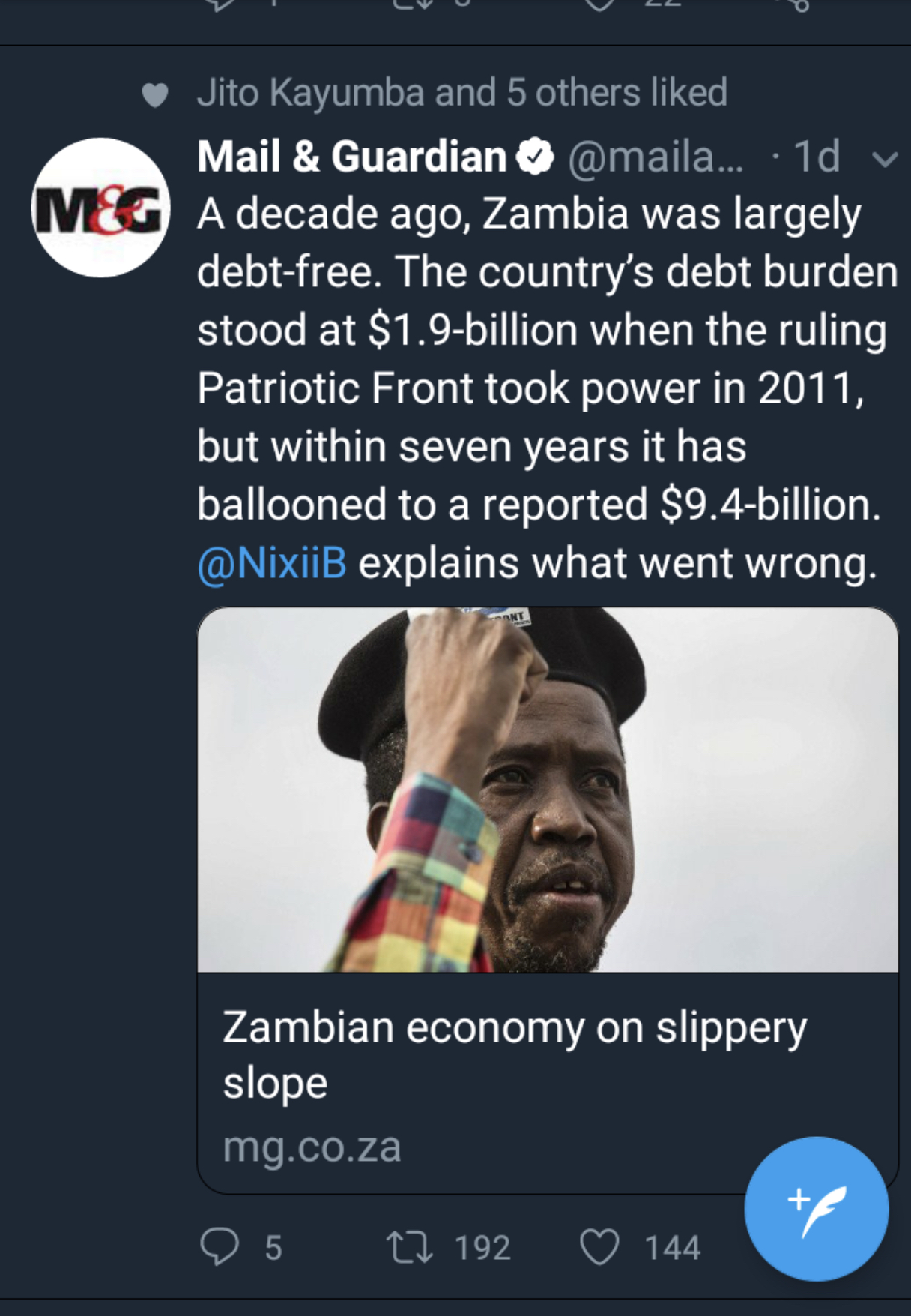 Zambian economy on slippery slope