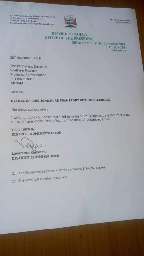 Siavonga DC to start using fire tender as his transport