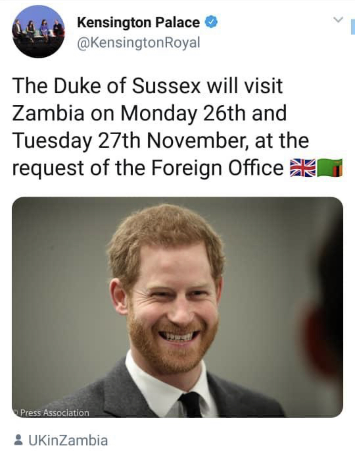 Prince Harry to visit Zambia