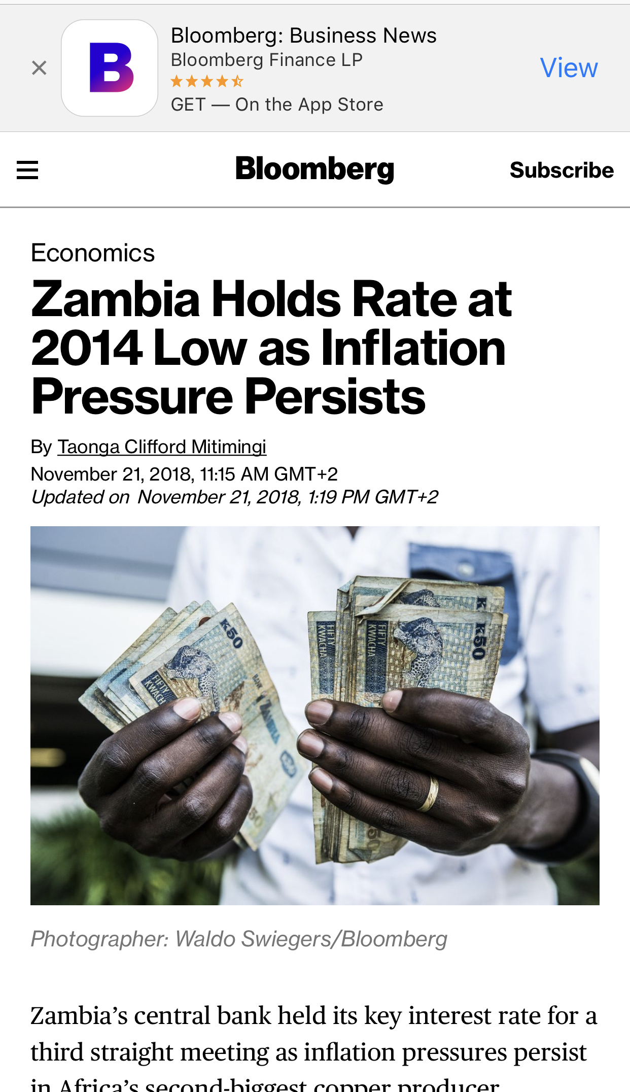 Despite junk status, Zambia hold interest rate low